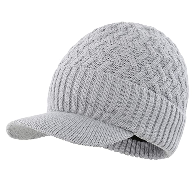 dd2825a1df001 Connectyle Outdoor Men s Warm Knit Winter Hat with Visor Cable Knitted Cuff Beanie  Cap Brim Grey