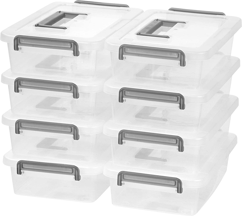 IRIS USA Medium Modular Latching Box - Silver Handle, 8 Pack