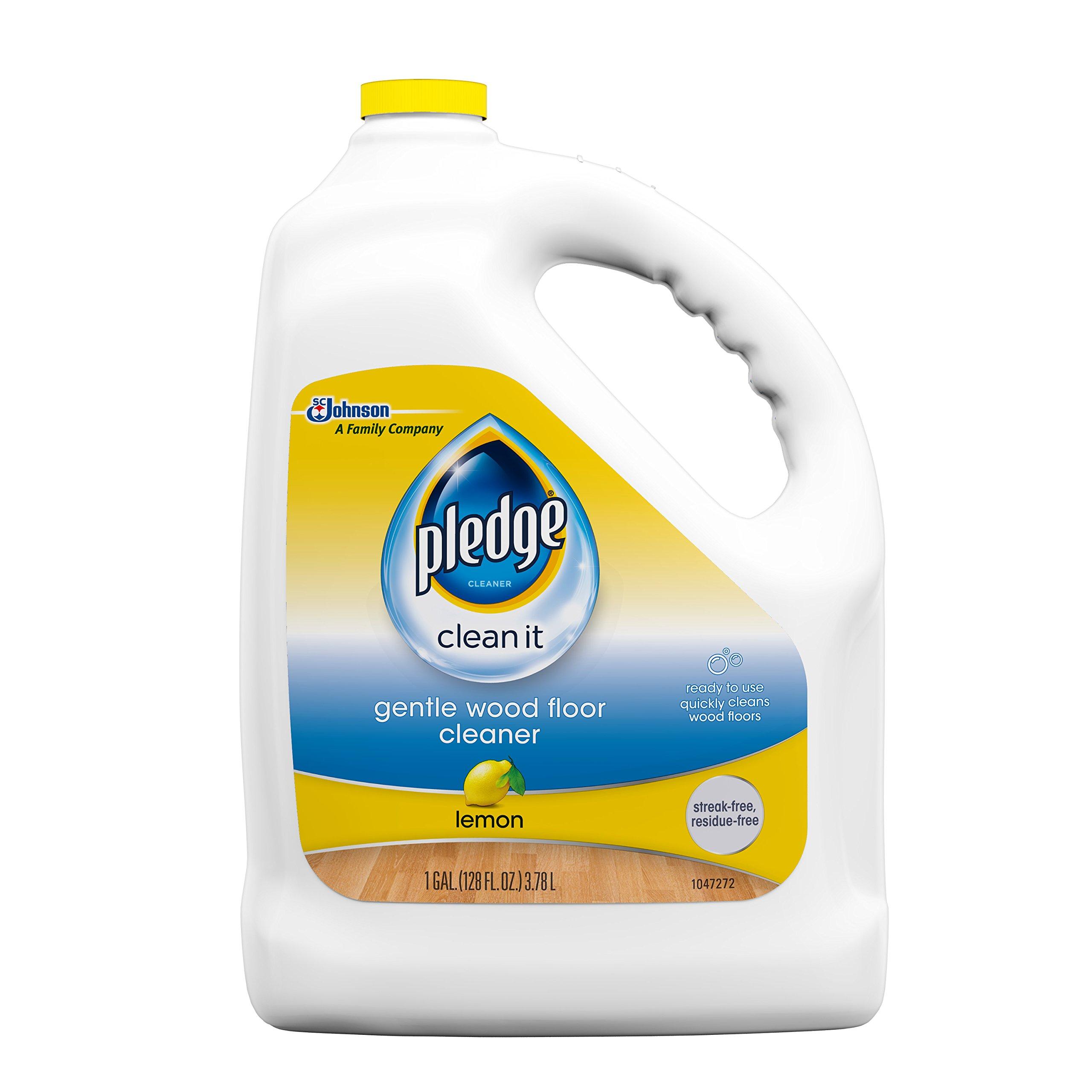 Pledge Gentle Wood Floor Cleaner, Lemon, 128 Fluid Ounce