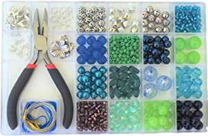 Jewelry Making Kit- Everything Included in This Beginners Jewelry kit. Girls and Teens Will Love Exploring Their Creativity! Directions and Sample Ideas Included with This Blue and Green Bead kit.