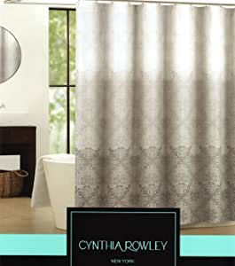 Amazon Com Cynthia Rowley Ombre Medallion Fabric Shower Curtain Black Gray White Home Amp Kitchen