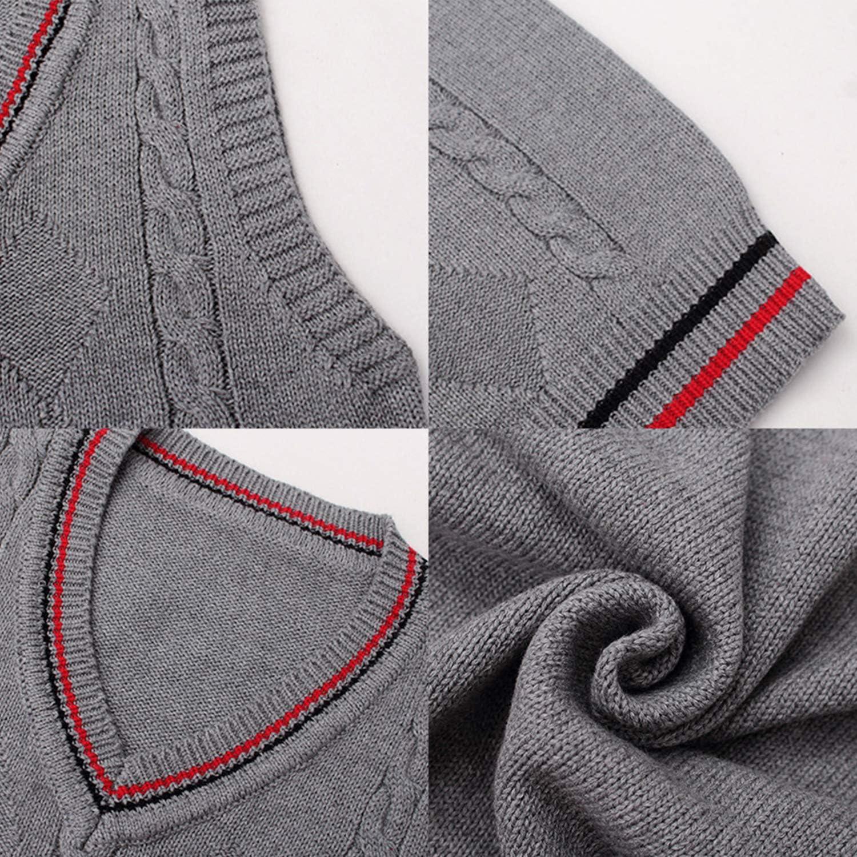 De feuilles Jungen Weste V Ausschnitt Pullunder V-Ausschnitt Pullover Gentlemann Weich Sweater Strickpullover mit Zopfmuster