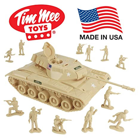 Amazon Com Timmee Toy Walker Bulldog Tank Playset Desert Tan 13pc