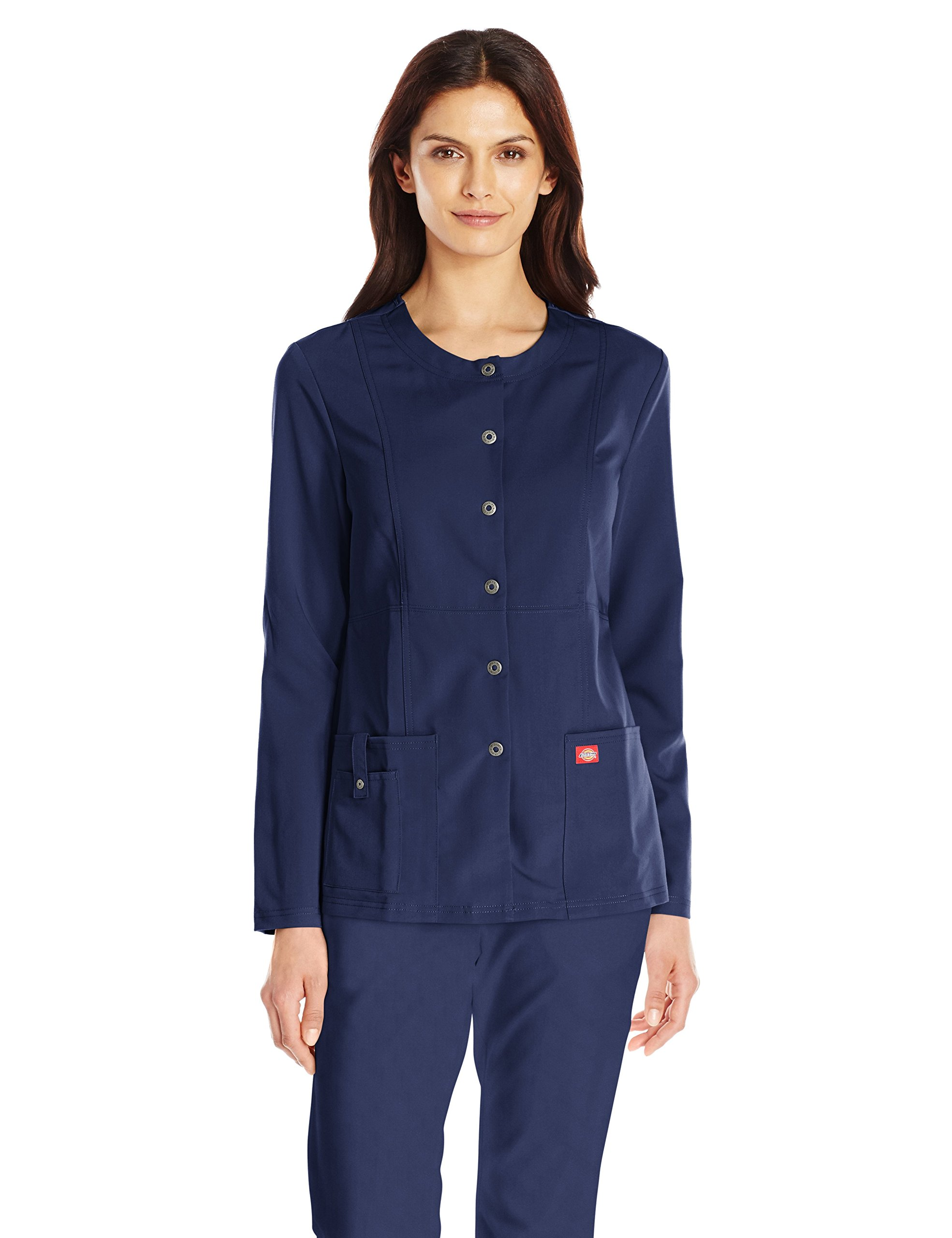 Dickies Women's Xtreme Stretch Crew Neck Snap Front Warm-up Jacket, Navy, X-Small