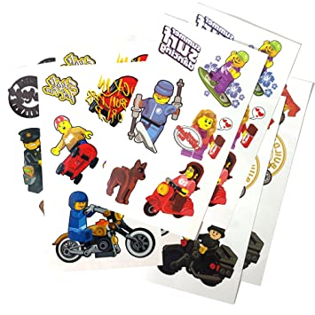 Amazon.com: Temporary Tattoos (8 Sheets) for Lego-Theme Parties ...