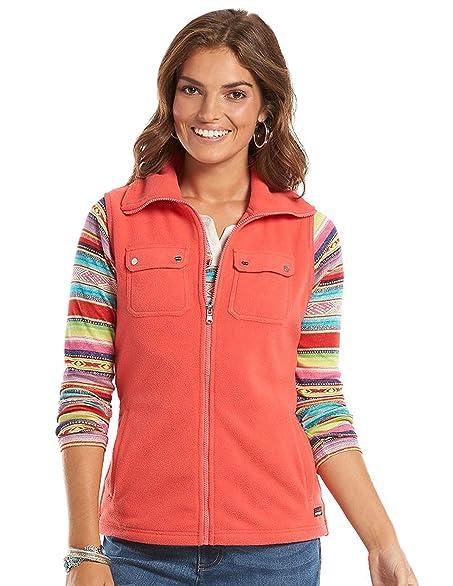 Chaps Women's Orange Solid Polar Fleece Vest M XL (M) at Amazon ...
