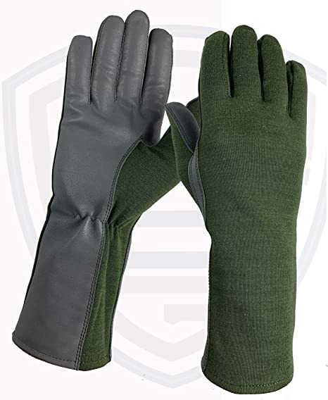 TACTICAL NOMEX FLIGHT FLYERS PILOT FIRE RESISTANT LEATHER GLOVES-GREEN XS-XXL