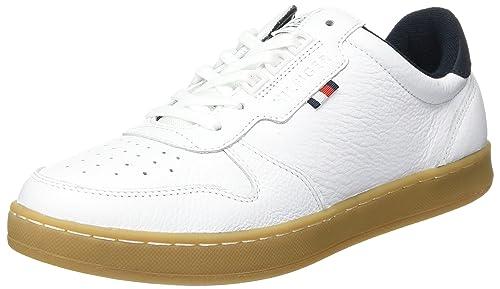 Tommy Hilfiger H2285oxton 1a1, Zapatilla de Deporte Baja del Cuello Para Hombre, Blanco (Bianco), 41 EU