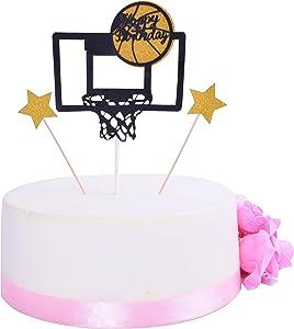 SHAMI Basketball theme cake topper for Boy birthday CupCake Topper Father's Day cake topper Party Decorations Happy Father Birthday Supplies Decorations Man Birthday(Black)