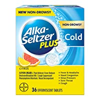 Alka-Seltzer Plus Non-drowsy Cold Citrus effervescent Tablets, Citrus, 36 Count