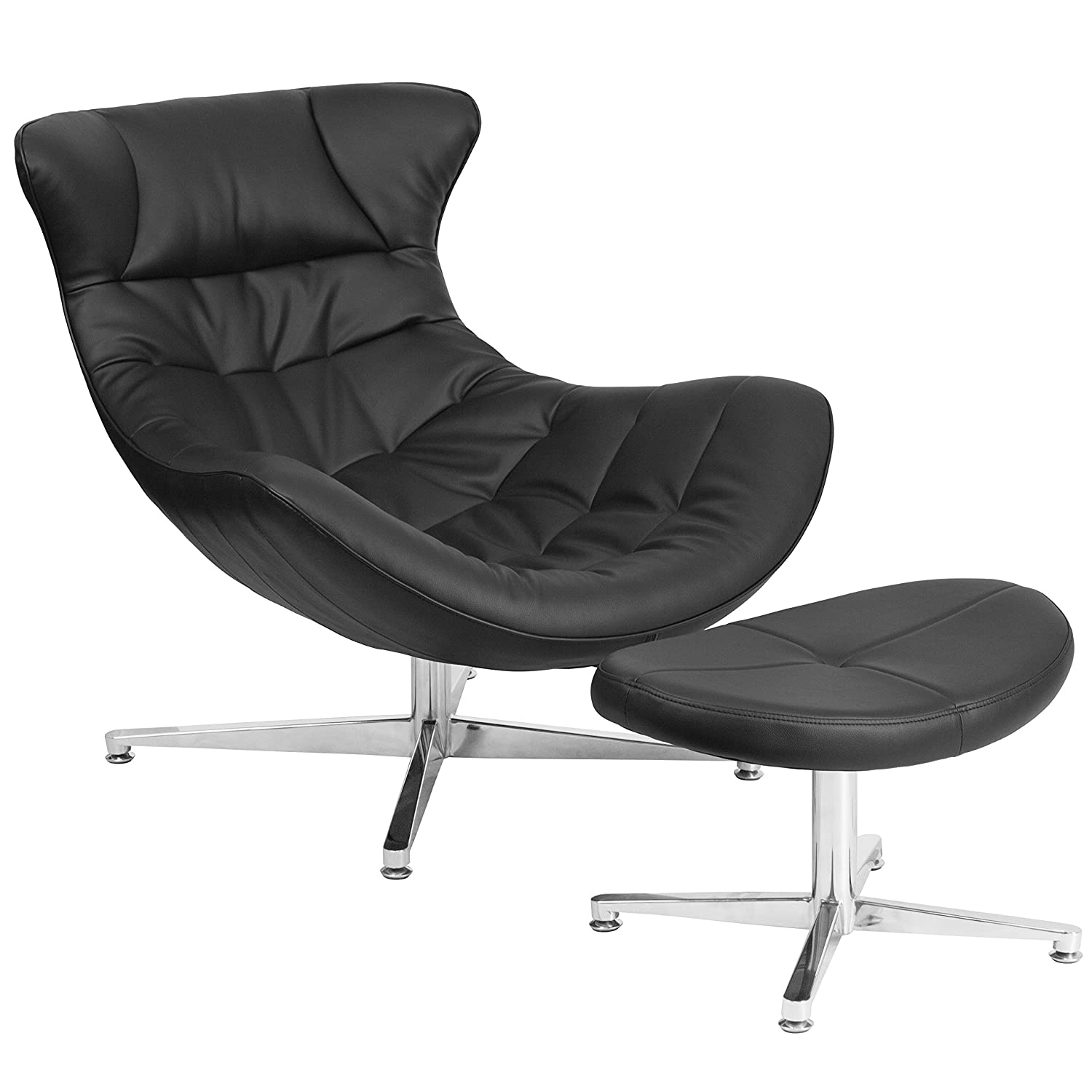 amazon com flash furniture black leather cocoon chair with ottoman