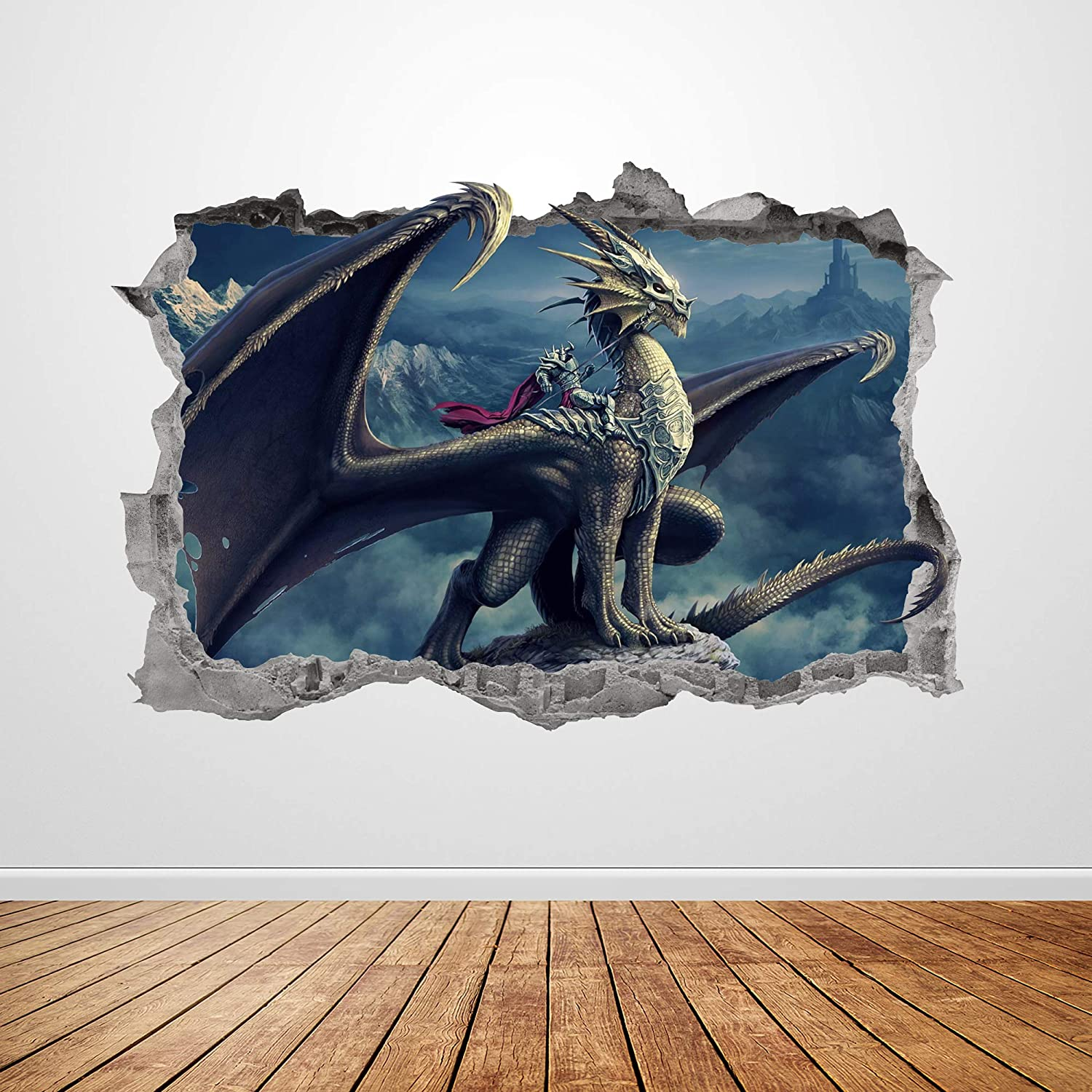 """Dragon Wall Decal Art Smashed 3D Graphic Mythical Creatures Wall Sticker Mural Poster Kids Room Decor Gift UP317 (50""""W x 34""""H inches)"""