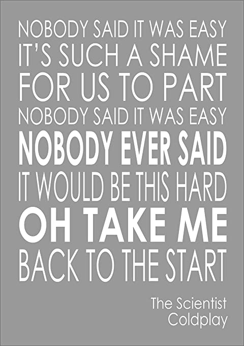 Coldplay The Scientist Lyrics Words Print Poster A4 Amazon