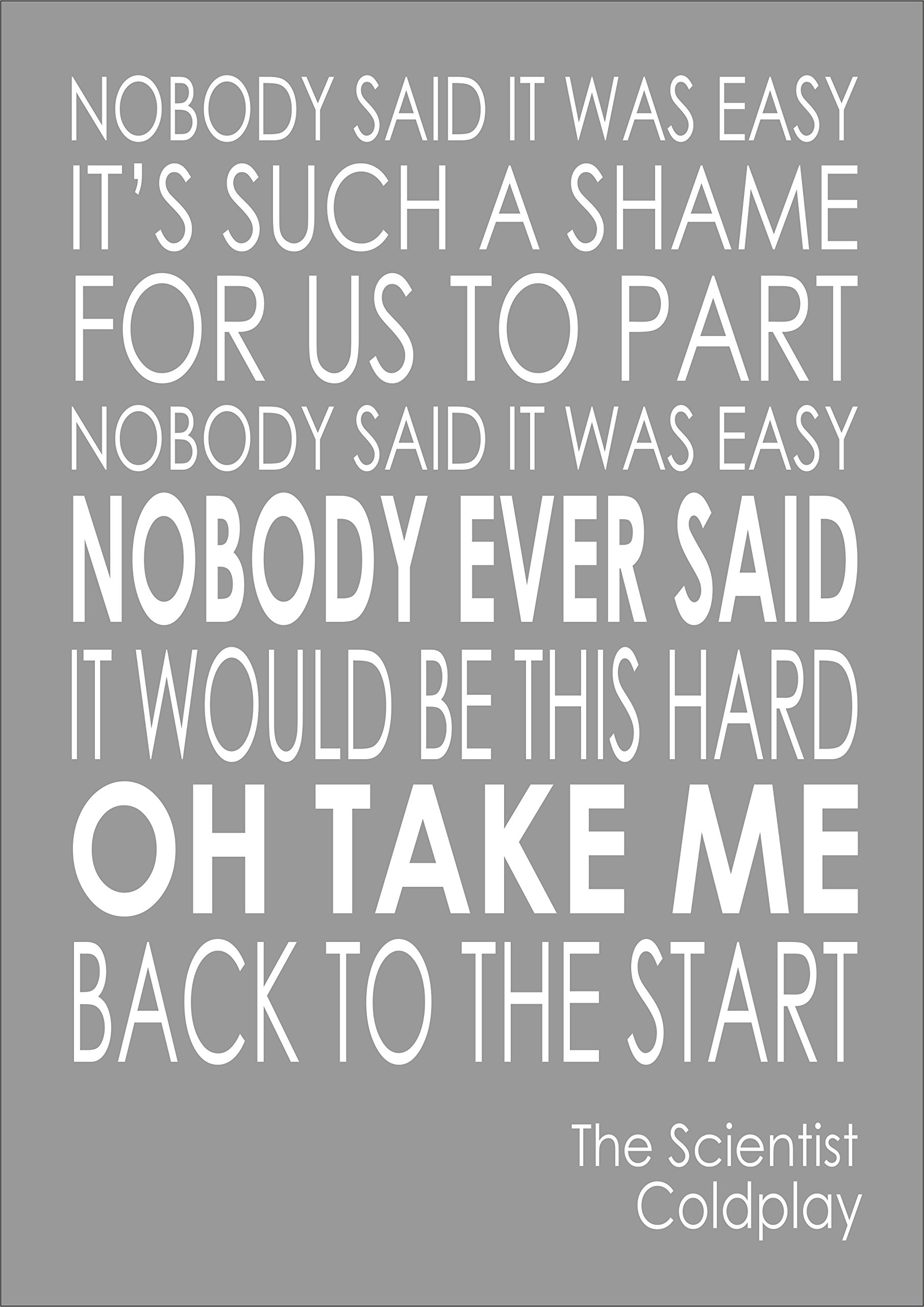 Coldplay The Scientist Lyrics Words Print Poster A4 Buy