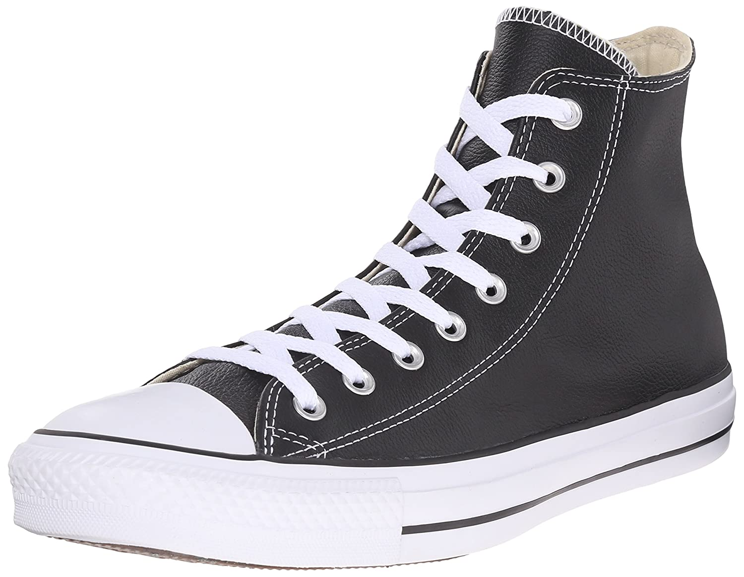 Converse Chuck Taylor All Star Leather High Top Sneaker B003PK64DY 10.5 B(M) US Women / 8.5 D(M) US Men|Black Leather