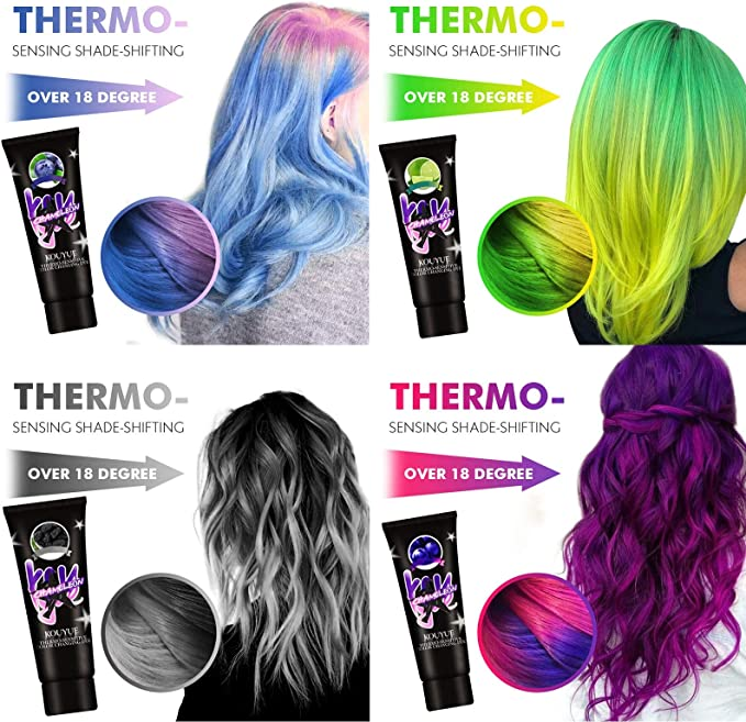 50 ML Tinte Wonder Que Cambia de Color termocrómico, Tinte para el Cabello Multicolor Permanente Que Puede Cambiar de Color según la Temperatura, a 18 ...