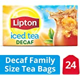 Lipton Family Black Iced Tea Bags, Unsweetened Decaffeinated, 24 ct  (Pack of 12)