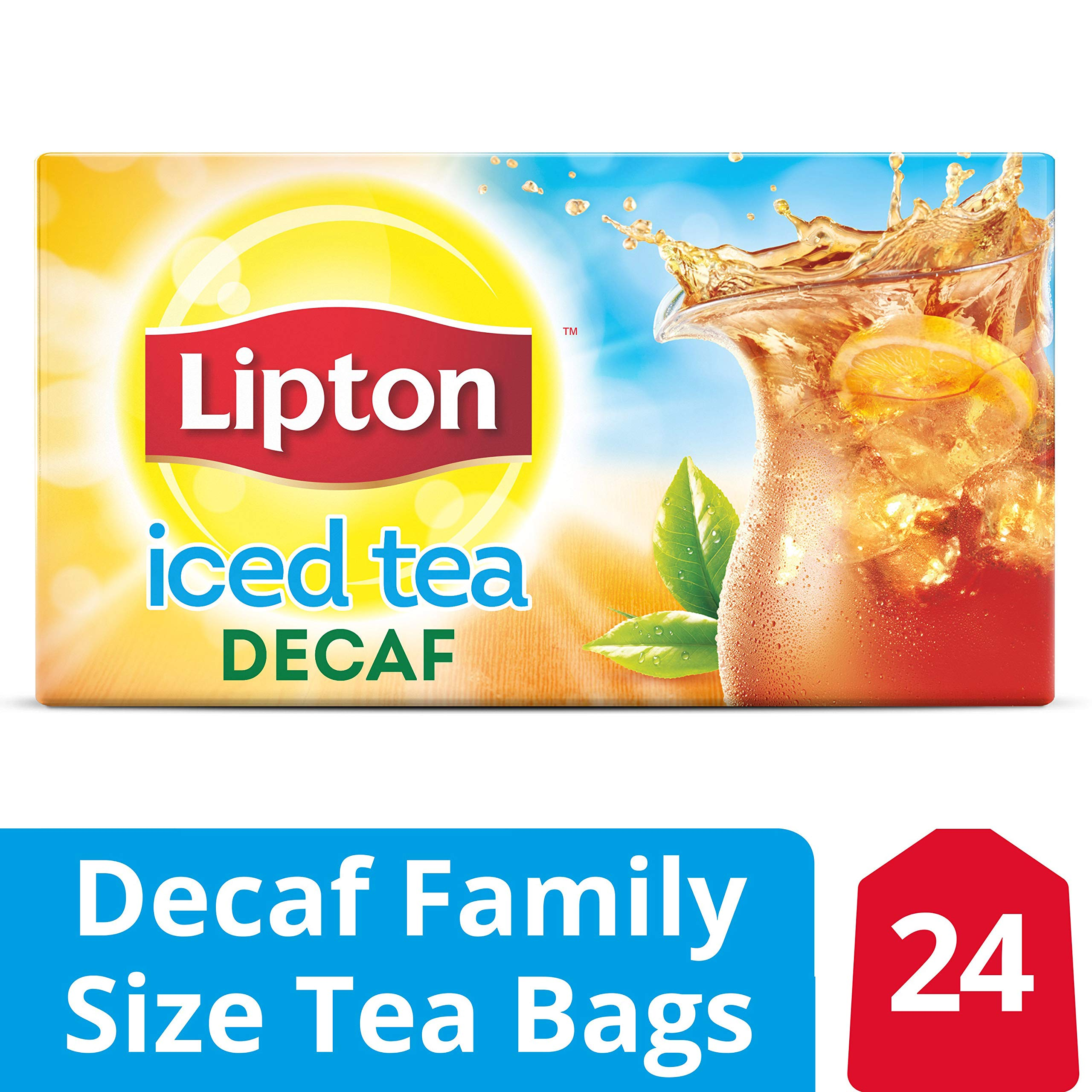 Lipton Family Black Iced Tea Bags, Unsweetened Decaffeinated, 24 ct  (Pack of 12) by Lipton