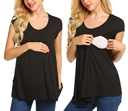 2739fe4c394ce Women's Maternity Tee Shirt Doubled Layered Round Neck Ruched Nursing  Breastfeeding Top Black S