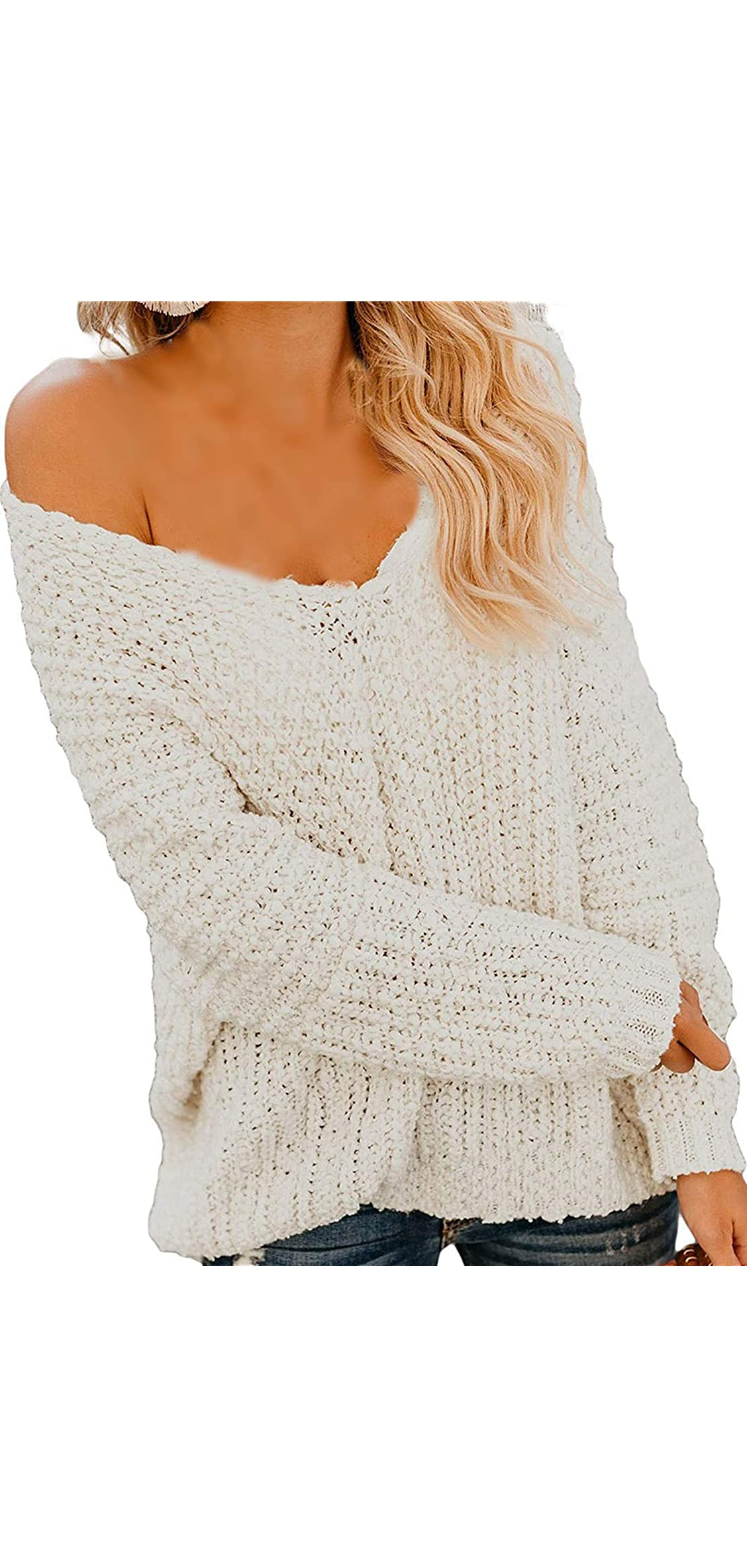 Women Off Shoulder Sweaters V Neck Long Sleeve