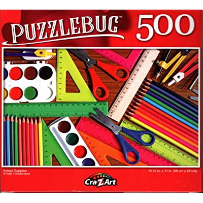 School Supplies - 500 Pieces Jigsaw Puzzle: Toys & Games