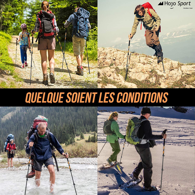 Ski Trekking Hojo Sport B/âtons de Marche T/élescopiques 3 brins pour Randonn/ée Trail ou Raquette con/çus en Aluminium Premium Renforc/é