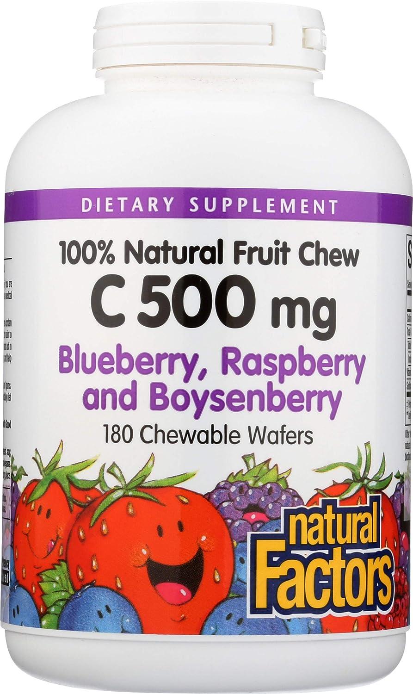 Natural Factors, Vitamin C 500 mg, Kids Chewable, Blueberry, Raspberry, Boysenberry, Vegan, 180 wafers (180 servings)