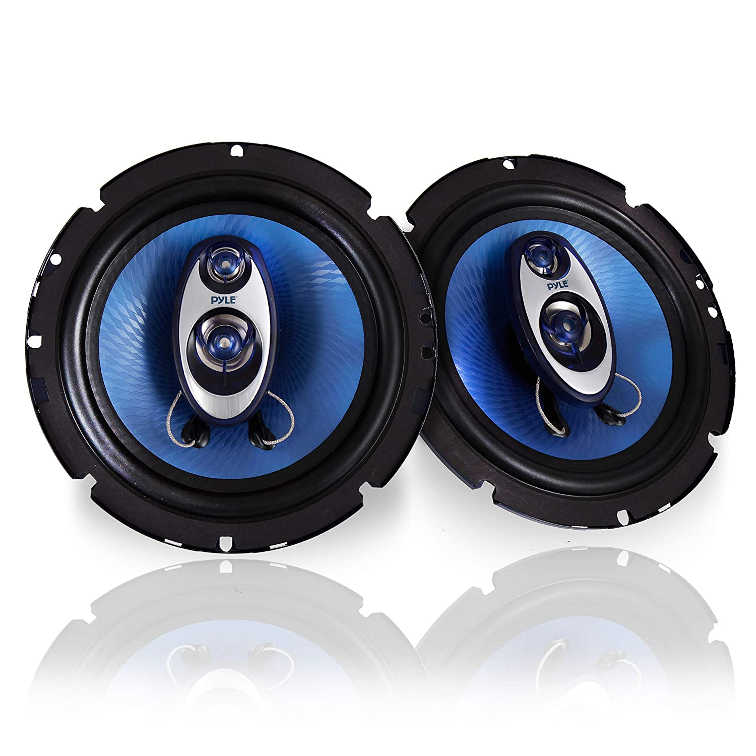 Pyle 6.5'' Three Way Sound Speaker System - Round Shaped Pro Full Range Triaxial Loud Audio 360 Watt Per Pairw/ 4 Ohm Impedance and 3/4'' Piezo Tweeter for Car Component Stereo PL63BL