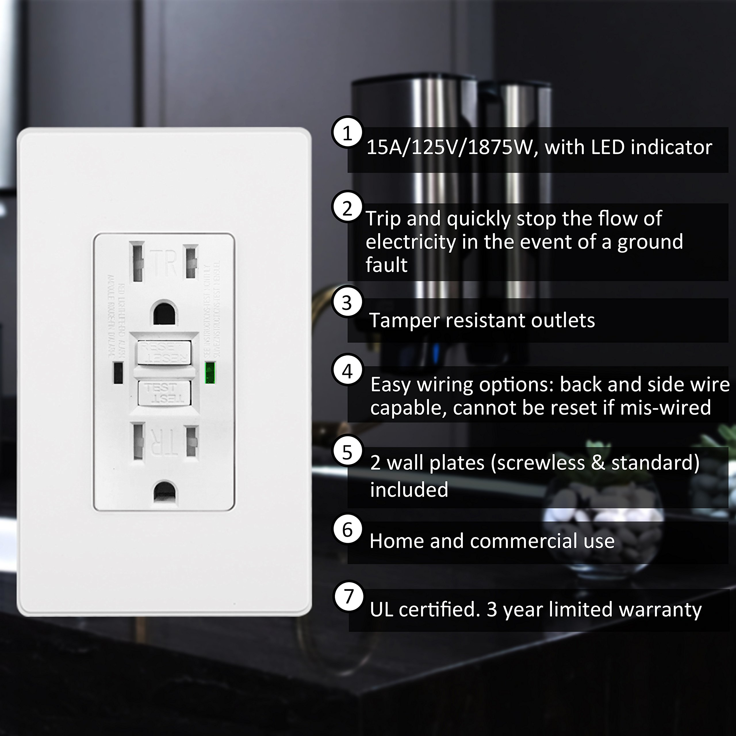[10 Pack] BESTTEN 15A Dual Indicator Self Test GFCI Receptacle, 15A/125V/1875W, Tamper Resistant Outlet, 2 Wall Plates and Screws Included, Auto-Test Function, UL Certified, White by BESTTEN (Image #2)