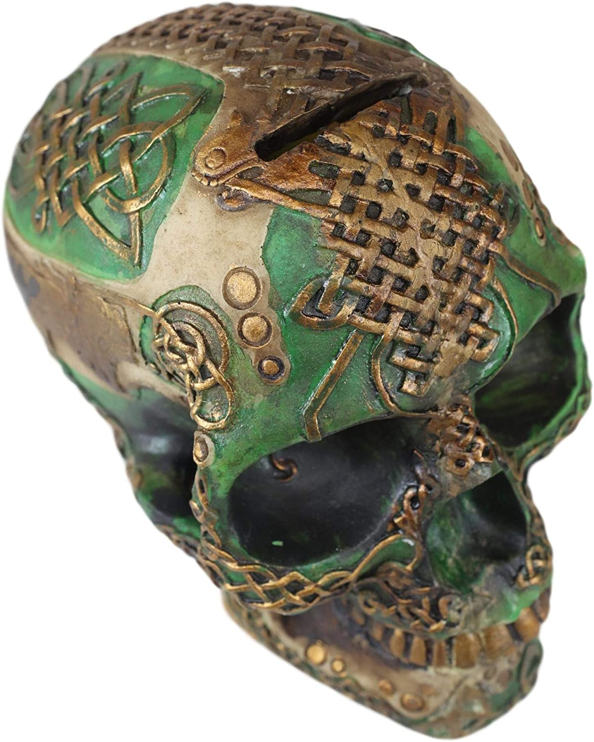Ebros Tooled Celtic Lion Knotwork Shamrock Green and Gold Tribal Skull Money Bank Figurine Ossuary Macabre Labyrinth Dark Arts Decor Statue Piggy Banks