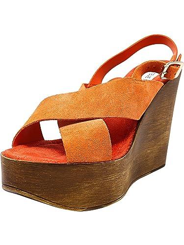 8fc7b90acc78 Steve Madden Women s Bali Suede Orange Wedged Sandal - 8M  Amazon.co ...