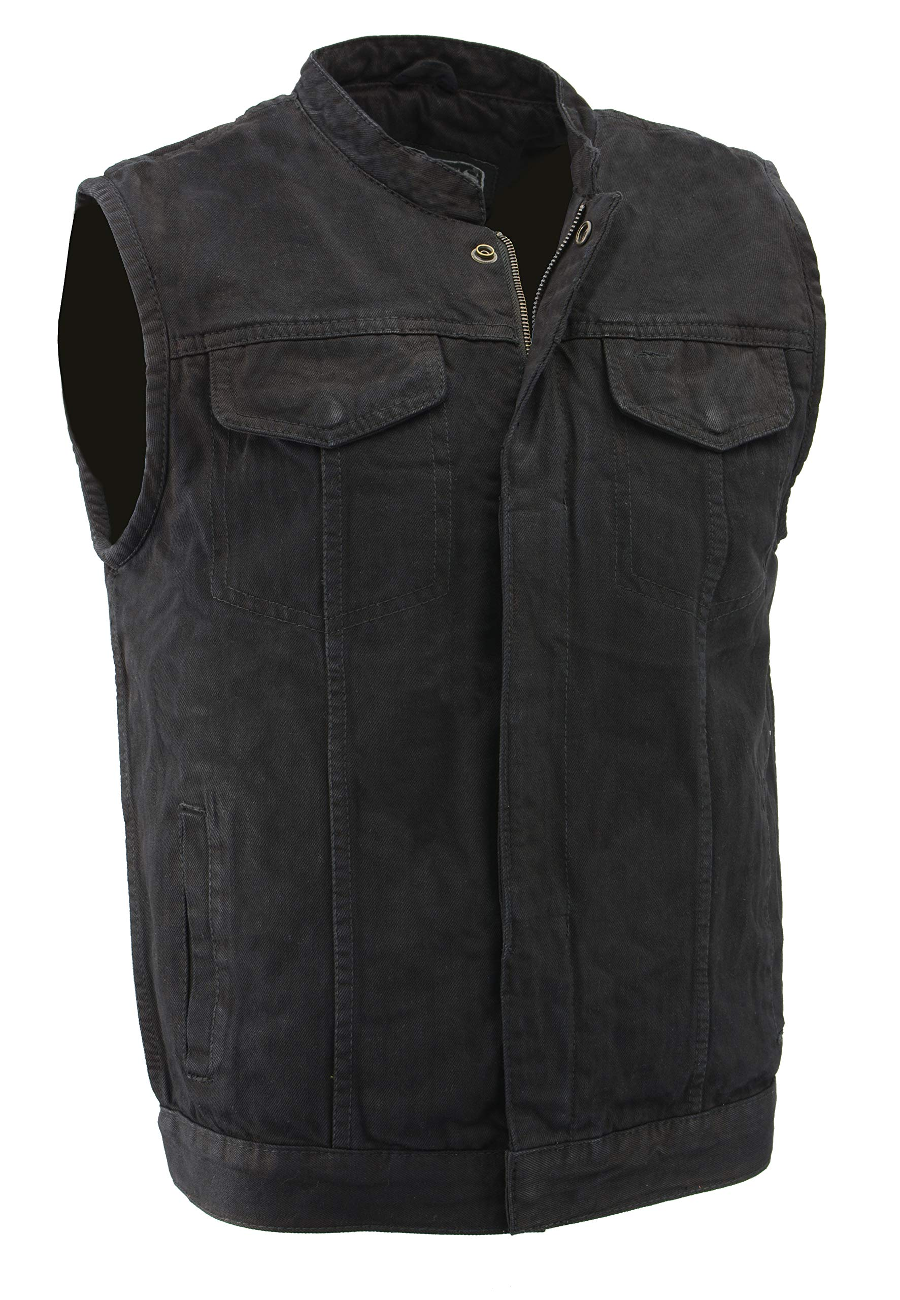 M-Boss Motorcycle Apparel-BOS13000-BLACK-Men's Denim Club Style Vest w/Hidden Zipper-BLACK-2XL