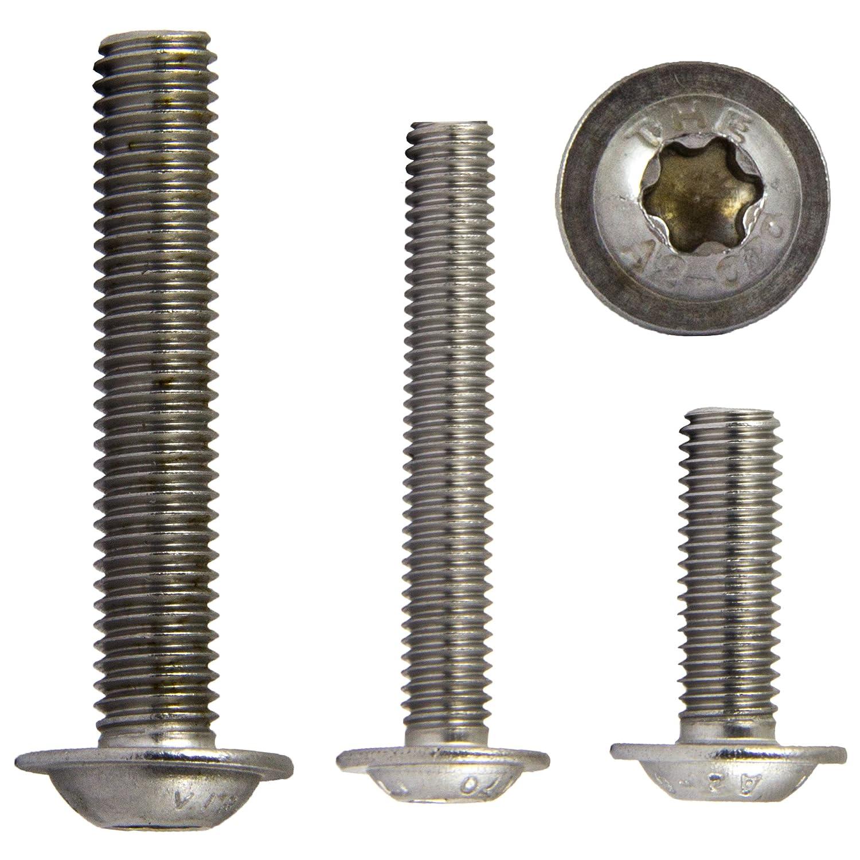 ISO 7380/| Torx opiol Quality inoxidable ISR alomado 20/unidades Tornillos de cabeza plana lente Tornillos de cabeza con Brida muesca redonda