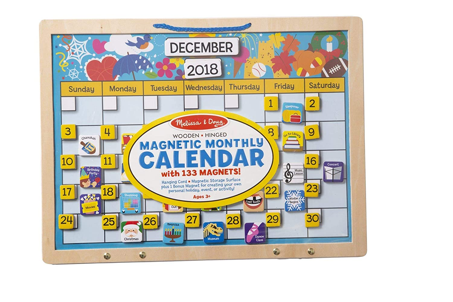 Melissa & Doug Monthly Magnetic Calendar With 133 Magnets and 2 Fabric-Hinged Dry-Erase Boards Toy Melissa and Doug 5058