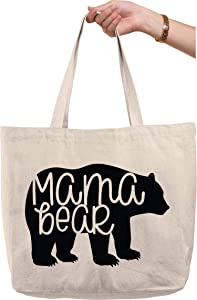 Mama bear silhouette family mom mother wilderness nature Natural Canvas Tote Bag funny gift