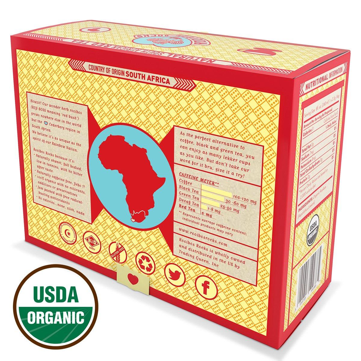 Amazon Com Rooibos Tea Organic Tagless Teabags 100 South African