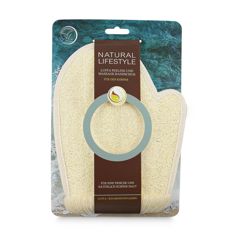 Peeling-Handschuh, aus Luffa, Sojabohnenfasern und Frottee, Massage und Reinigung des Körpers, Waschhandschuh aus Naturkosmetik, für eine glatte und reine Haut, für Männer und Frauen, vegan, 1 St. Nature & Life GmbH