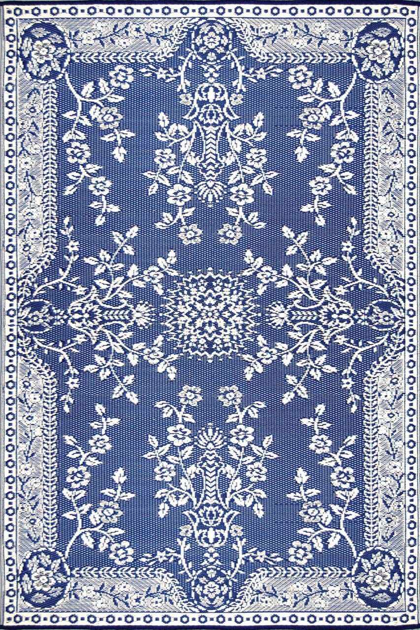 Mad Mats Garland Indoor Outdoor Floor Mat, 4 by 6-Feet, Blue and White