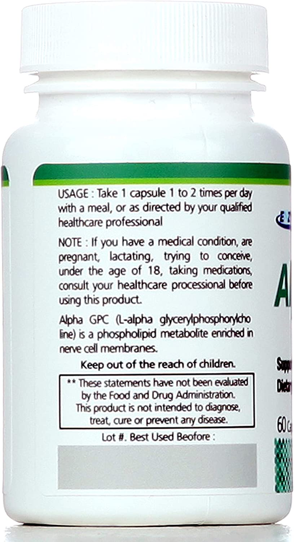 Alpha GPC Premium Choline Pure Formulation 400mg*60 Vegan Capsules Enzytech