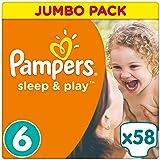 Pampers Sleep und Play Gr. 6, 15+ kg, Jumbo Pack 58 Windeln, Einfach trocken, 1er Pack (1 x 58 Stück)