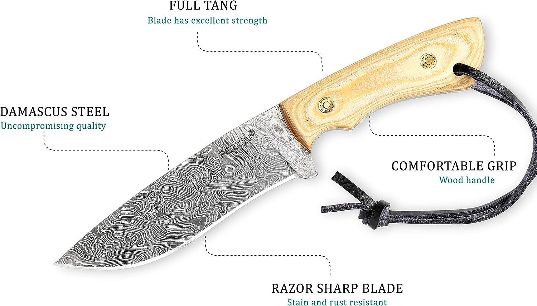 Perkin Knives Cuchillo de Caza Hecho a Mano de Damasco Cuchillo de ...