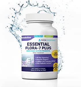 "Marine Essentials Probiotic Supplement - ""Essential Flora 7 Plus"" 700mg Complete Probiotics for Women and Complete Probiotics for Men (30 Time Release Caps)"