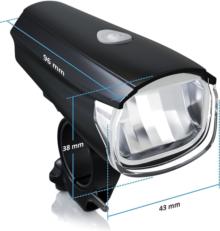 Delantero y Trasero Resistente a la Lluvia y los Golpes Set de iluminaci/ón LEDL/ámparas para Bicicletas aplic LED Claro 30 Lux Bajo Consumo Luz Faros Incl