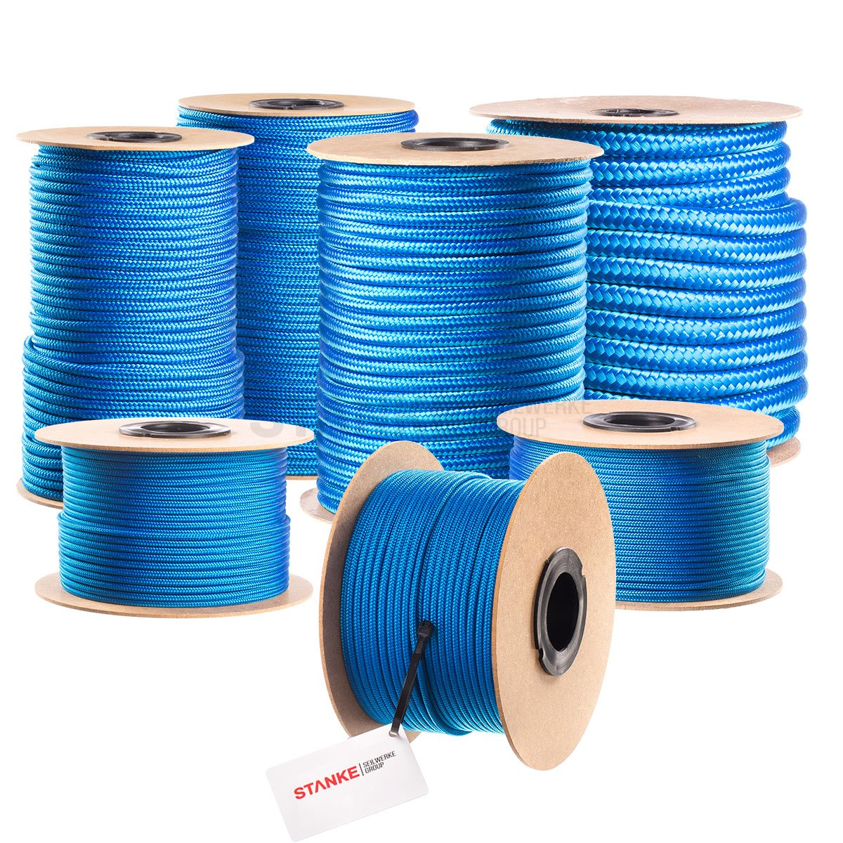 Seilwerk STANKE 100 m 2 mm Polypropylene Hollow Braided General Purpose Rope PP Line Mooring Anchor And Rigging Line Heavy Duty Twine Blue
