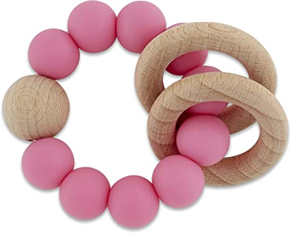 Natural Wood And BPA Free Silicone Quality Sensory Teething Pacifier Clip