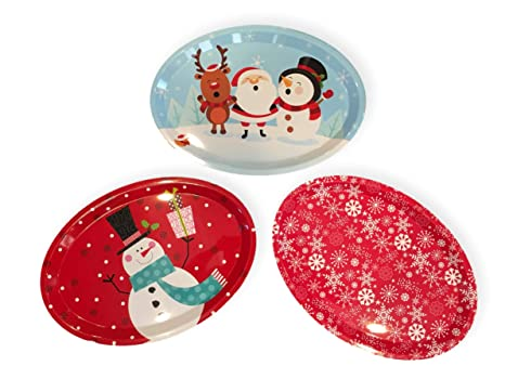 Melamine Christmas Platters.Set Of Three Large Oval Christmas Holiday Design Melamine Platter Dishes Snowman Santa Friends Red Snowflake