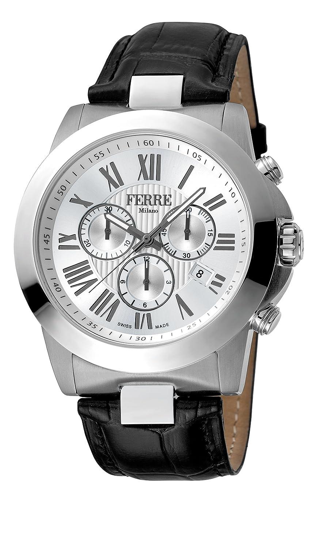 42a7fdabb0 FERRE Milano 's fm1g079l0011ブラックレザーバンド腕時計シルバーダイヤル、 B078YBVYMB Men-メンズ腕時計