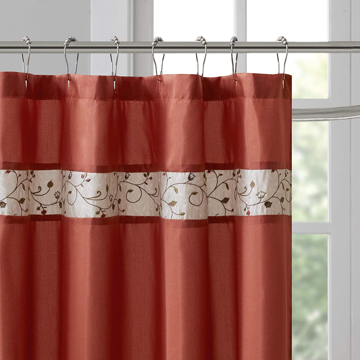 Madison Park Serene Flora Fabric Shower Curtain Mbroidered Transitional Curtains For Bathroom 72