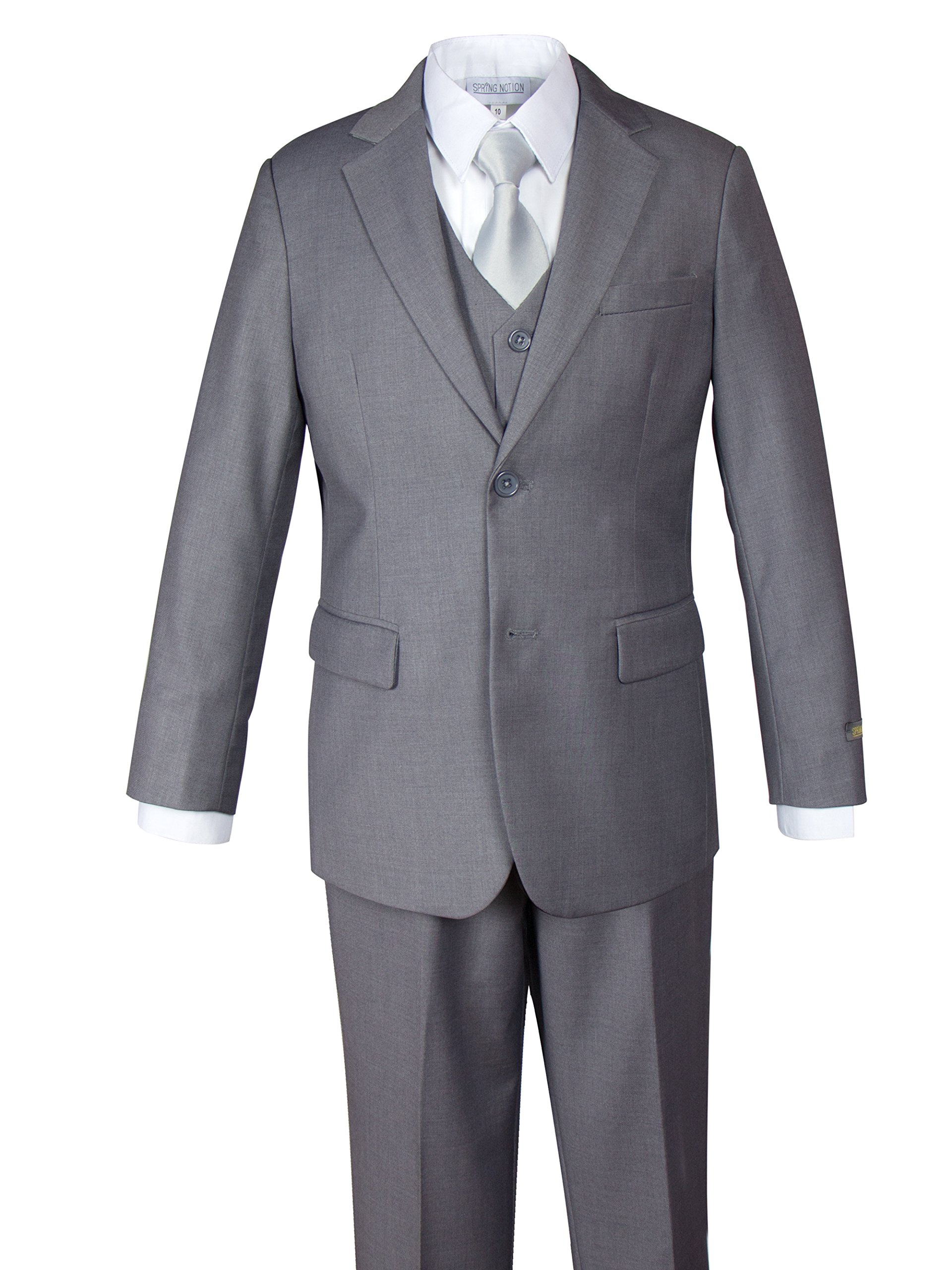 Spring Notion Big Boys' Two-Button 5-Piece Suit Set 8 Grey-Solid Silver
