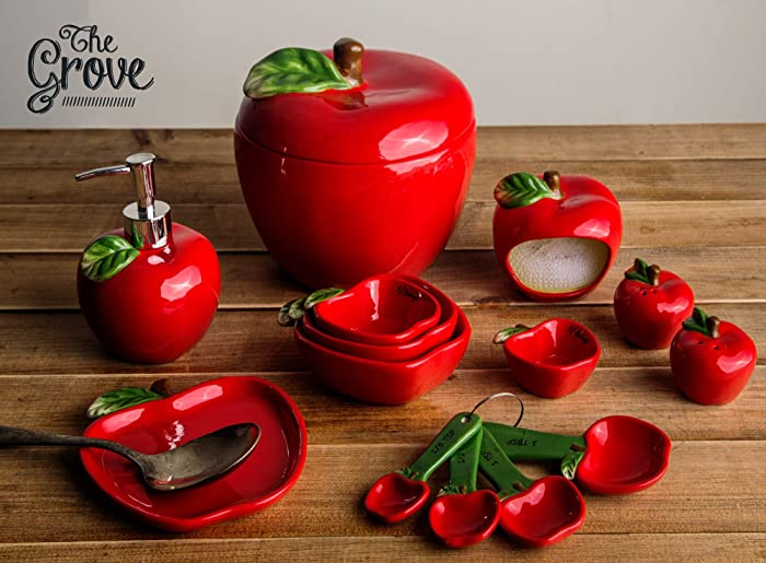 Home Essentials 86161 Ceramic Apple Salt and Pepper 2 and 4-inch, Red, Green, Brown
